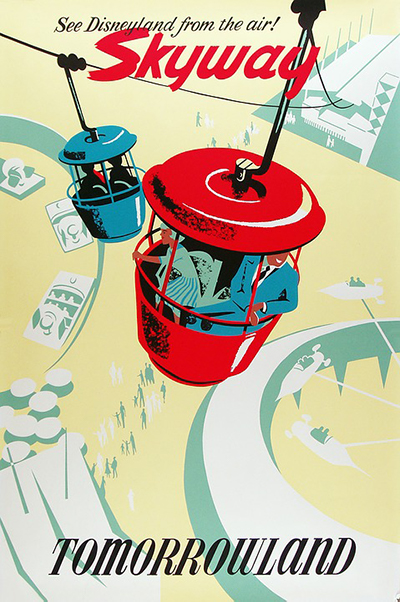 Disneyland Hotels Skyway of Tomorrowland Vintage Poster