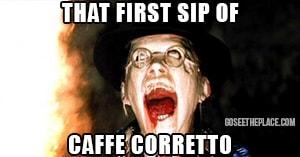A funny coffee meme of a man's face melting from Raider's of the Lost Ark - an example of what it's like to drink caffe corretto for the first time.