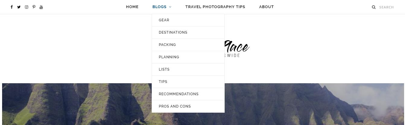 Go See The Place Screenshot of blog drop down menu