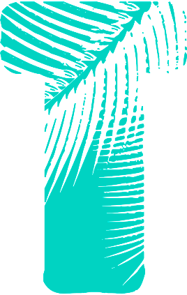 Letter T with Palm leaves